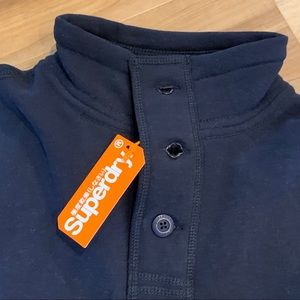 Superdry Sweaters - New Superdry Challenger Henley blue sweater